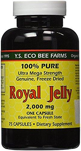 100% Pure Freeze Dried Fresh Royal Jelly - 2000 mg YS Eco Bee Farms 75 Caps - Pure Fresh Royal Jelly