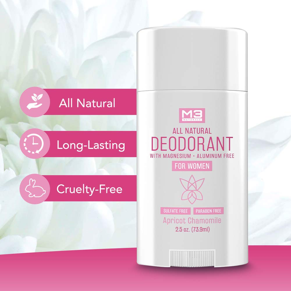 M3 Naturals All Natural Deodorant for Women with Magnesium, Apricot and Chamomile - Long-Lasting, Non-Toxic, Free of Aluminum, Baking Soda, Parabens, Sulfates and Gluten – Vegan, Organic 2.5 oz : Beauty