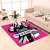 Nalahome Custom carpet n Decor Geometric Different Design Image with Like No Other Quote Print Hot Pink Black and White area rugs for Living Dining Room Bedroom Hallway Office Carpet (36x60)