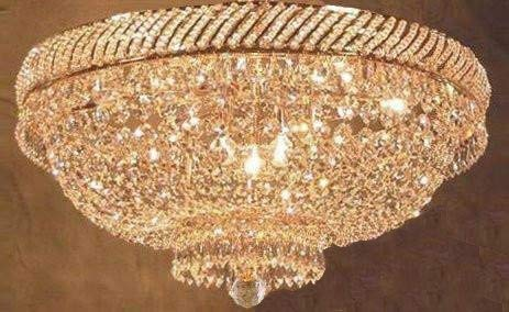 (French Empire Crystal Flush Basket Chandelier W/swarovski Crystal H 16