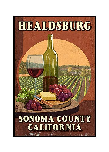 (Healdsburg, California - Sonoma County - Wine Tasting Vintage Sign 98126 (12x18 Framed Gallery Wrapped Stretched Canvas))