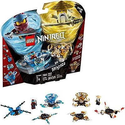 LEGO Ninjago - Spinjitzu Nya & Wu, peonzas azul y dorada de ninjas de juguete (70663)