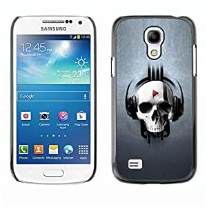 Paccase / SLIM PC / Aliminium Casa Carcasa Funda Case Cover - Design Skull Music - Samsung Galaxy S4 Mini i9190 MINI VERSION!