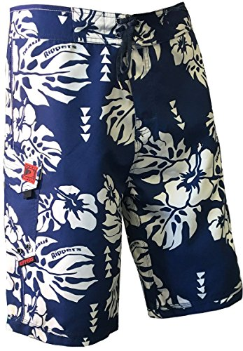 Maui Rippers Island Floral Boardshorts Blue (36, Blue)