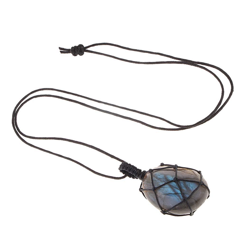 Sharplace Handgemachte Kristall Quarz Stein Mondstein Labradorit Anhänger Halskette Kette für Damen, Herren oder Kinder Geschenk