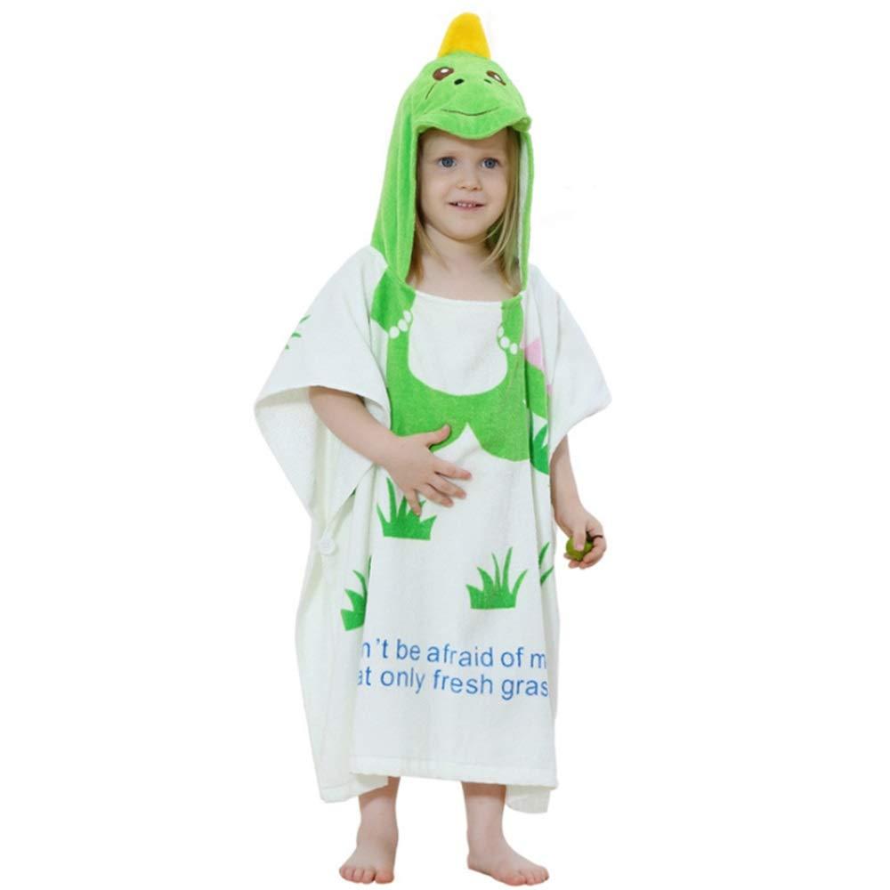 Feeryou Girl Cute Bath Towel Beach Towel Bathrobe Hooded Towel Large Towel Design Breathable fit Skin Cotton Towel Super Strong (Color : Green Dinosaur, Size : 6060cm)