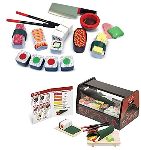 - Melissa & Doug Bundle Includes 2 Items Roll, Wrap & Slice Sushi Counter Toy Sushi Slicing Wooden Play Food Set