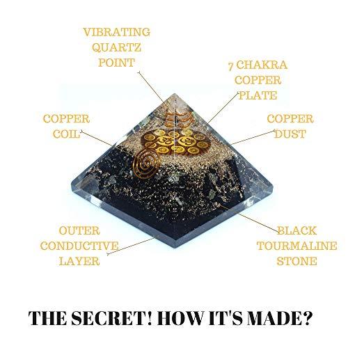 (Orgone Pyramid - Black Tourmaline Crystal for Orgone Energy Generator - Orgonite Pyramids for Emf Protection - Healing Crystal - Chakra Crystal - Chakra Om Symbol for Meditation - By Agate Jewelry)