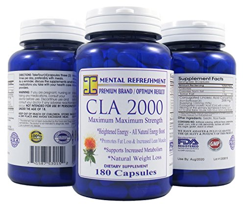 Mental Refreshment: CLA (Conjugated Linoleic Acid) - 2000mg, 180 Capsules (1 Bottle)