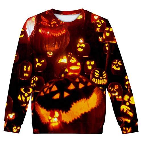 YANYUN Halloween Women Blouses Long Sleeve Horror Print Party,Oversized Sweatshirts for Women Round Neck -