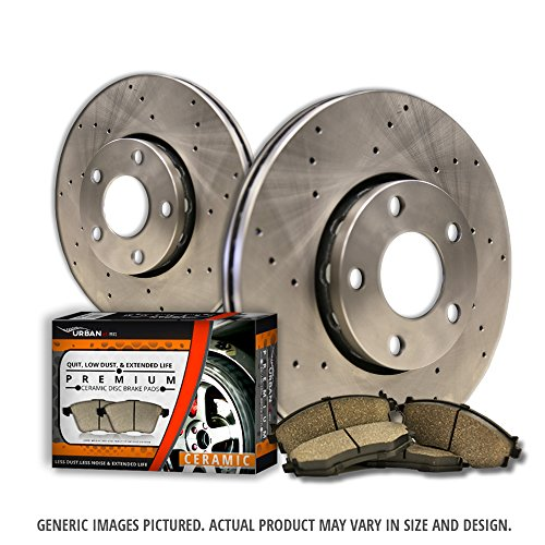 (Rear Kit)2 Heavy Duty Cross Drill Brake Rotors + 4 Ceramic Pads(6lug)-Combo Brake Kit (2011 Ford F150 Break Rotors compare prices)