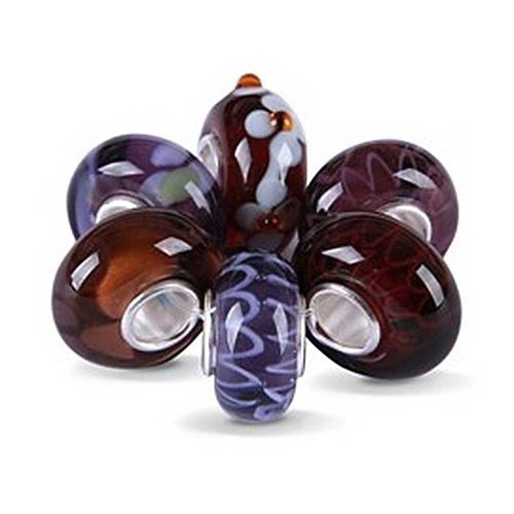 Set of Six Bundle Assorted Purple Murano glass Lampwork Bead Charm 925 Sterling Silver