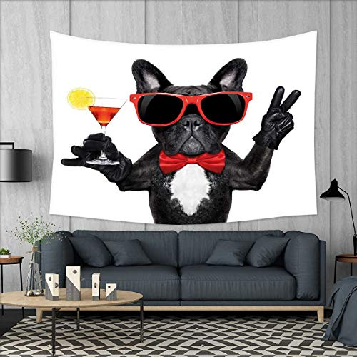 smallbeefly Funny Wall Hanging Tapestries French Bulldog Holding Martini Cocktail Ready for The Party Nightlife Joy Print Large tablecloths 84