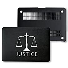 MacBook Pro Retina 13 Case, PU Leather Black Hard Shell Snap On Case Cover Only Fits on MacBook 13 inch Pro Retina Display (A1502 & A1425) (Justice)