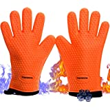 Silicone Grill & BBQ Gloves|Extreme Cool & Heat Resistant Oven Mitts|Oven Gloves For Cooking Baking Smokers and Grilling-Lifetime Replacement|Washable|Cotton Lining|Insulated|Waterproof|2 Sticky Hooks