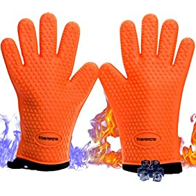 Cooking Gloves for The Pro Chef| Extreme Cool & Heat Resistant| Oven Mitts for BBQ Smokers and Grillers. Washable Cotton Lining. 2 Bonuses - 2 Sticky Hooks + eBook