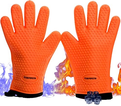 Cooking & Grilling Gloves for The Pro Chef|Extreme Cool & Heat Resistant|Oven Mitts for BBQ Smokers and Grillers.Washable Cotton Lining|Insulated|Waterproof| 2 Bonuses - 2 Sticky Hooks + eBook