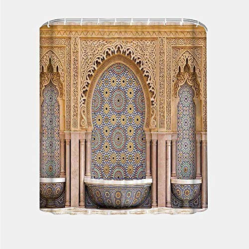 YOLIYANA Moroccan Decor Various Shower Curtain,Typical Moroccan Tiled Fountain in The City of Rabat Near The Hassan Tower for Hotel,36