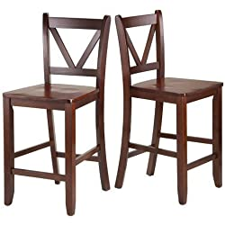 Victor 2-Piece V-Back Counter-Height Stool, Walnut + Expert Guide