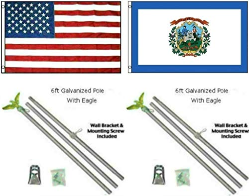 ALBATROS 3 ft x 5 ft USA American with State of West Virginia Flag Galvanized Pole Kit Top for Home and Parades, Official Party, All Weather Indoors Outdoors