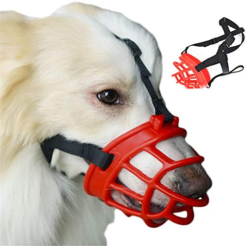 JYHY Soft Silicone Basket Dog Muzzles-Adjustable Breathable Biting Chewing Barking Training Dog mask for Small Medium Large Dogs,Red 6