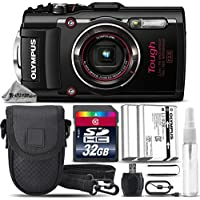 Olympus Stylus TOUGH TG-4 Digital Camera (Black) + 32GB CLASS 10 MEMORY CARD + Replacement Battery for Olympus LI-92B + Card Reader + Tripod + Case + Cleaning Kit - International Version