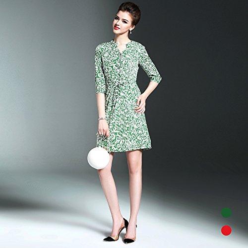 ZHUDJ La Mujer Del Temperamento _ Verano Vestidos Florales Todos-Match Hembra Madura Temperamento green