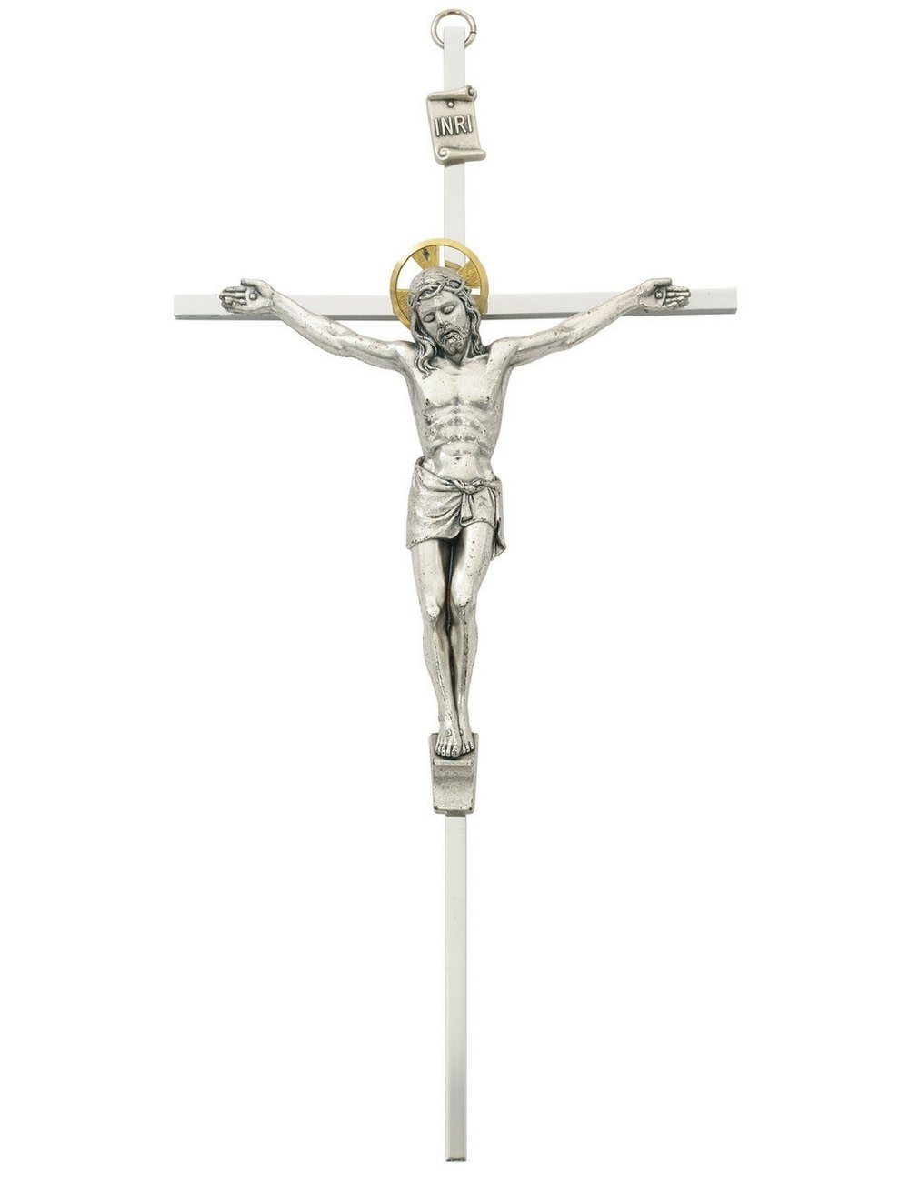 All Patron Saints Metal Wall Crucifix Cross with Gold Color Accent Halo 10 Inch