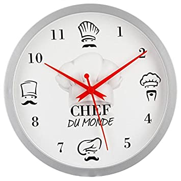 Paris Prix Pendule Murale Chef Du Monde 22cm Blanc Amazon