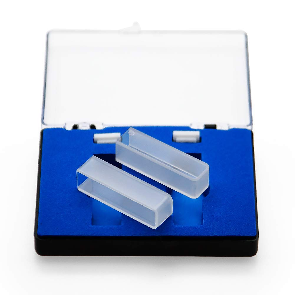 UV Glass Cuvettes Glass Cell for Spectrophotometer 10mm Path Length, 48mm Height, 3.5ml Capacity 340-2500nm Wavelength Range, Optical Glass, Square Shape, Set of 2 with case
