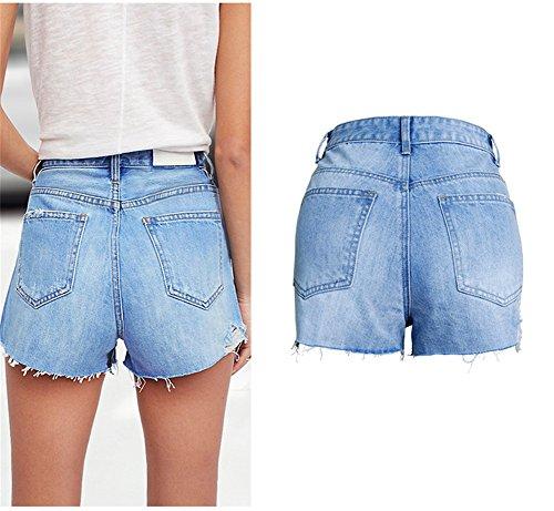 Perla S 2 Rivetto Mezclilla Rasgados Shorts Shorts Shorts Cortos Cintura Moda Color Jeans de 3XL Alta Sólido para Juqilu Casual Pantalones Mujeres Denim qRBnFF0W