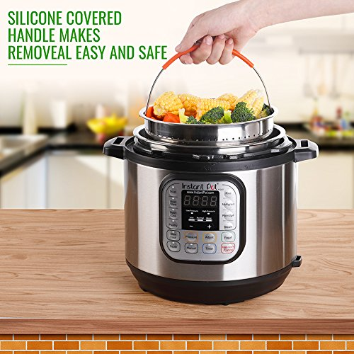 The Original Sturdy Steamer Basket for 6 or 8 Quart Instant Pot Pressure Cooker, 304 Stainless Steel Steamer Insert with Silicone Covered Handle, Great for Steaming Vegetables Fruits Eggs by HOUSE AGAIN (Image #3)