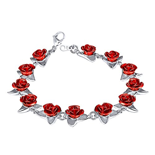 Red Plated Charm - U7 Women Girls Cute Platinum Plated Link Red Rose Flower Charm Bracelets