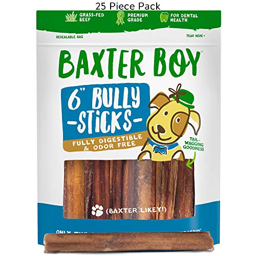 """Baxter Boy 6-inch Premium Grade Thick Bully Sticks Dog Treats (25 Pack) – 6"""" Long All Natural Gourmet Dog Treat Chews – Fresh and Savory Beef Flavor – Long Lasting Treat"""