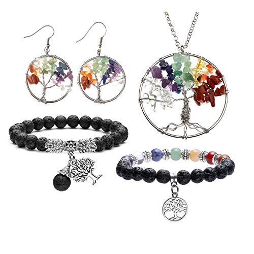 (Jovivi 7 Chakra Tree of Life Tumbled Gemstone Healing Crystals Necklace & Earrings & Chakra Bracelet Sets, (4pcs: Tree of Life Necklace & Earrings & Lava Stone Diffuser Bracelets))