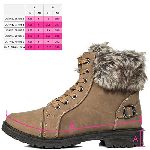 Flat Style Style Leather FUFFA Lace Ankle Up Boots Fur Shoes SPYLOVEBUY Women's Camel XRYq7O7