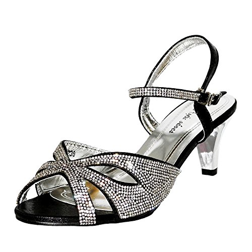 Kitten 239 Diamante Low Shoes A Heel Black Size Feet Sandal Plus on Rock Ladies Styles Party Wide 0xWq8ZZIFw