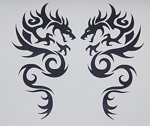 [Tribal Dragon Vinyl Decal Car Truck Auto Sticker Black New Set of 2] (Dragon Tribal Car)