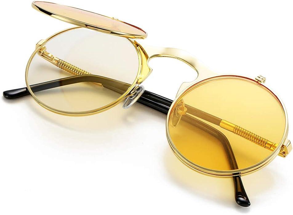 a24ef86879 COASION Vintage Round Flip Up Sunglasses for Men Women Juniors John Lennon  Style Circle Sun Glasses