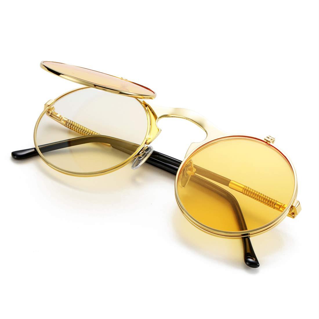 COASION Vintage Round Flip Up Sunglasses for Men Women Juniors John Lennon Style Circle Sun Glasses(Gold Frame/Yellow Lens)