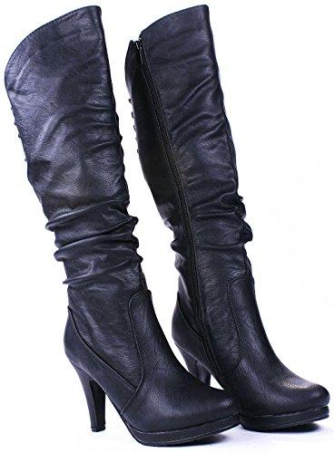 Jjf Chaussures Win40 Noir Slouch Sexy Plate-forme À Lacets Stiletto Genou Hautes Bottes-6