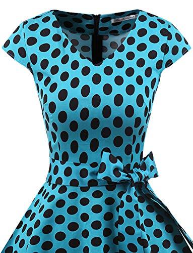 Annata 1950 Swing Da Corte Cocktail Dot Con Polka Abito Gardenwed Blue Rockabilly Partito Audery Black Maniche Retrò Vestito dAdw8