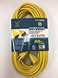 BYBON 50ft Indoor Outdoor Extension Cord SJTW 14 AWG Heavy Duty UL Listed, Yellow (10Pack)