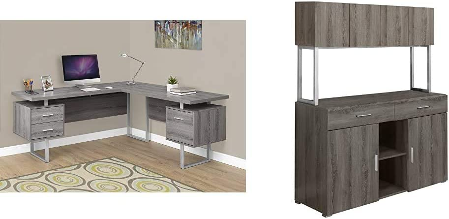 """Monarch Specialties Computer Desk Left or Right Facing Dark Taupe 70"""";L & Dark Taupe Reclaimed-Look Office Storage Credenza, 48-Inch"""