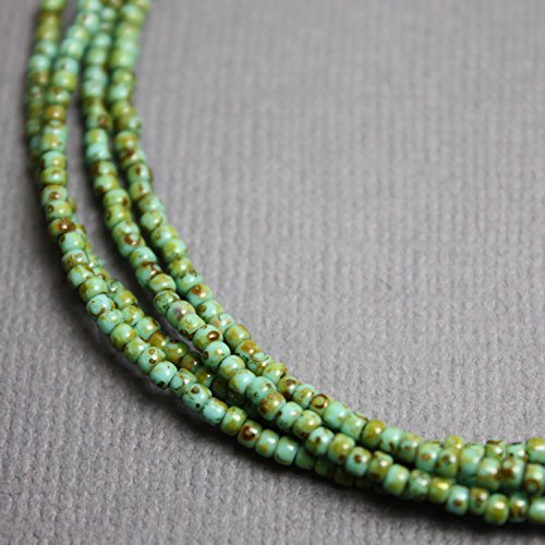 Turquoise Green Seed Bead Necklace, Turquoise Colored Single Strand Beaded - Single Necklace Turquoise Strand