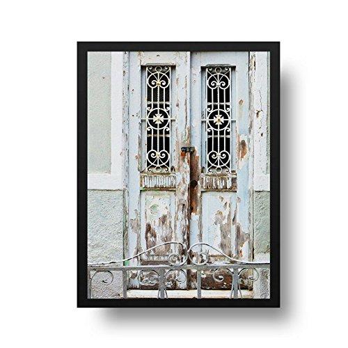 Quadro Fotografia Porta Antiga - Molura Preta - 50 x 70 cm