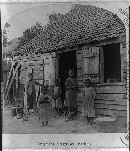 1891 Photo Please mister take her tintype / Geo. Barker, Niagara Falls, N.Y. Stereograph showing African American children posing outside a house.