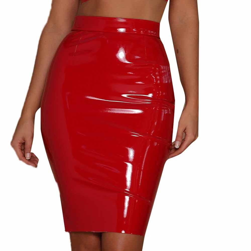 deda196b65 Amazon.com: Hunzed Women【Patent Leather Skirt】 Women's Sexy Shiny Wet Look  Bodycon Knee-Length Pencil Skirts: Sports & Outdoors