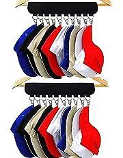 Hat Rack,Hat Organizer Holder for Hanger,2 Set Cap Organizer Hanger for Room & Closet, 20 Large Holder Clips to Hang Baseball Hats, Ball Caps, Winter Beanie & Accessories, Hat Organizer for Closet, (Black)