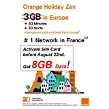 Orange Holiday Europe Prepaid SIM Card 8GB Internet Data in 4G/LTE (Data tethering Allowed) + 30mn + 200 Texts from Europe to Any Country Worldwide(8GB)- OLO Frog